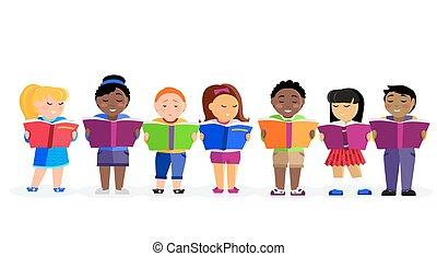libri, gruppo, lettura, bambini