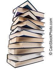 libri, isolato, mucchio