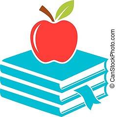 libri, mela, icona