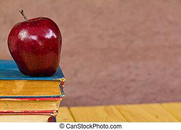 libri, mela, rosso, pila