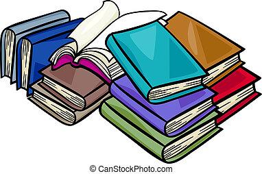 libri, mucchio, cartone animato, illustrazione