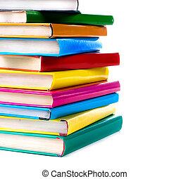 libri, mucchio, isolato, bianco