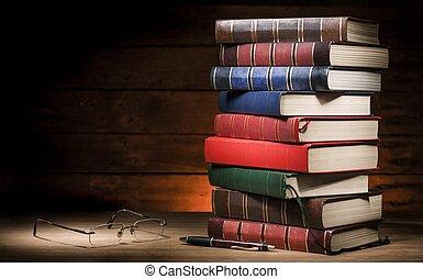 libri, mucchio, occhiali