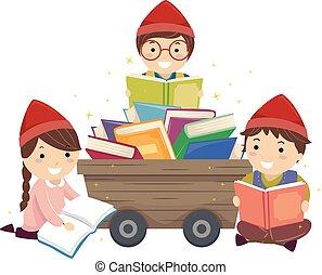 libri, nani, stickman, illustrazione, bambini