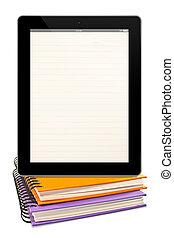 libri, pagina, foderare, computer, vuoto, fondo, isolato, bianco, colorito, tavoletta