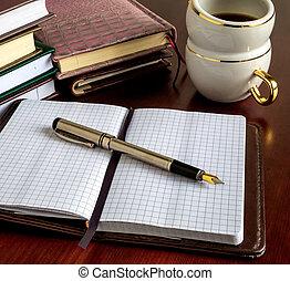 libri, penne, affari, caffè