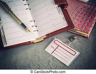 libri, penne, distintivo, affari