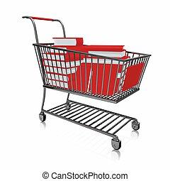 libri, pieno, shopping, rosso, carrello