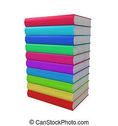 libri, pila, colorato