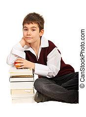 libri, pila, scolaro