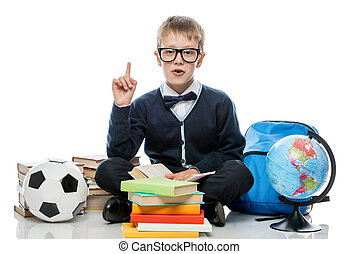 libri, proposta, fondo, bianco, mazzo, scolaro