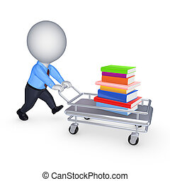 libri, pushcart., pila