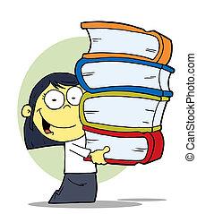 libri, ragazza, asiatico