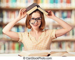 libri, ragazza, occhiali, divertente, lettura studente, stanco