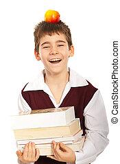 libri, ridere, scolaro
