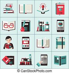 libri, set, icone