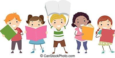 libri, stickman, bambini