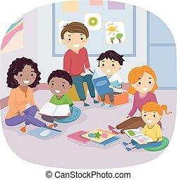 libri, stickman, famiglia, bambini