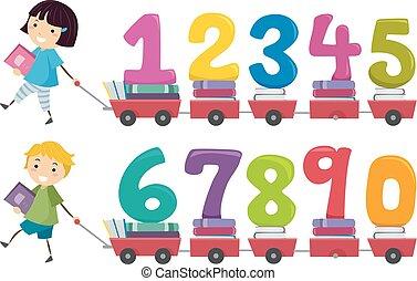 libri, stickman, numeri, carrello, bambini