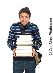 libri, studente maschio, felice