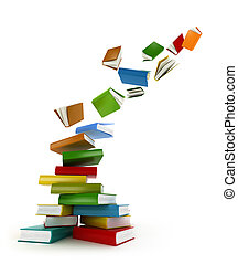 libri, tornado, ., isolato, bianco