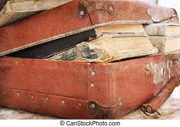 libri, vecchio, pieno, valigia