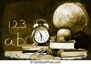 libri, vecchio, scuola