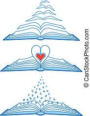 libri, vettore, aperto