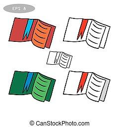 libri, vettore, set, icone