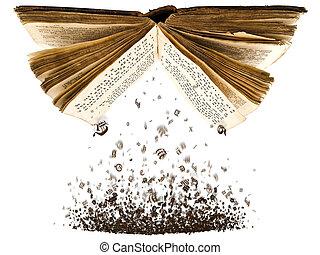 libro, abierto, caracteres