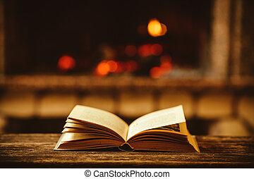 libro abierto, chiminea, con, navidad, ornaments., abierto, storyb