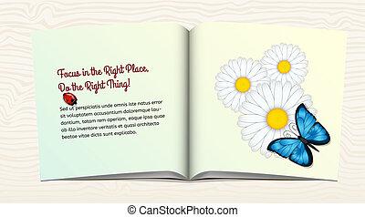 libro abierto, con, flores, y, mariposa