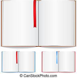 libro abierto, con, marcador
