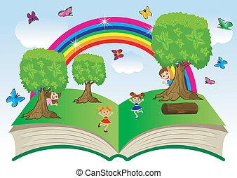 libro abierto, con, niños