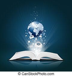 libro, abierto, empresa / negocio, colección