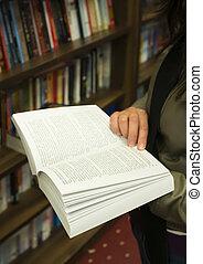libro abierto, en, un, librería