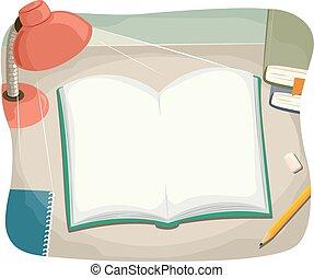 libro, abierto, escritorio