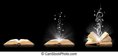libro abierto, magia, en, negro