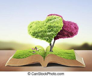 libro, abierto, naturaleza