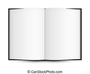 libro, abierto, páginas, blanco