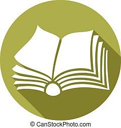 libro abierto, plano, icono