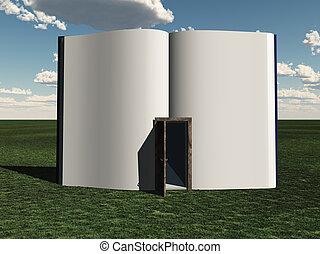 libro abierto, puerta