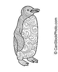 libro, adulti, pinguino, coloritura, vettore