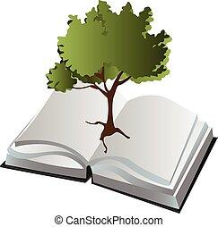 libro, albero