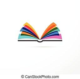 libro aperto, -, colorito, concetto, icona, di, educazione,...