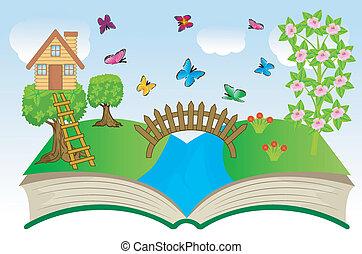 libro aperto, con, estate, paesaggio