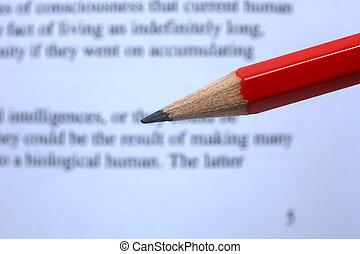 libro, aperto, matita