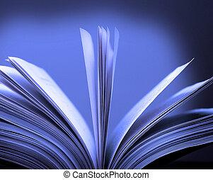 libro, aperto, pagine