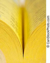 libro, aperto, pagine, giallo