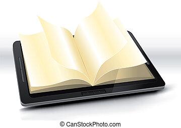 libro, aperto, pc, tavoletta